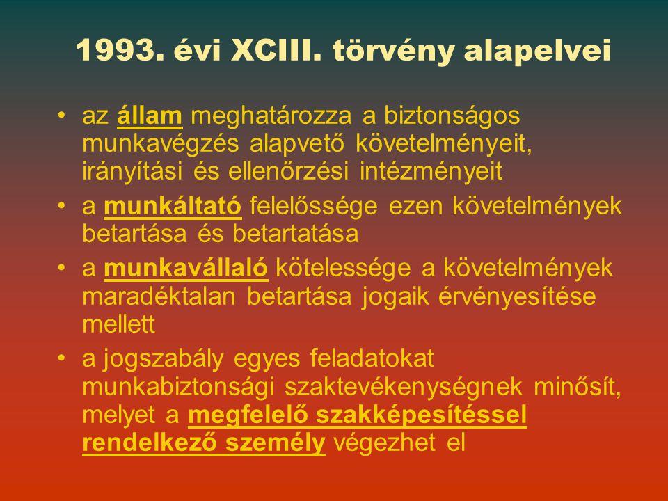 1993. évi XCIII. törvény alapelvei