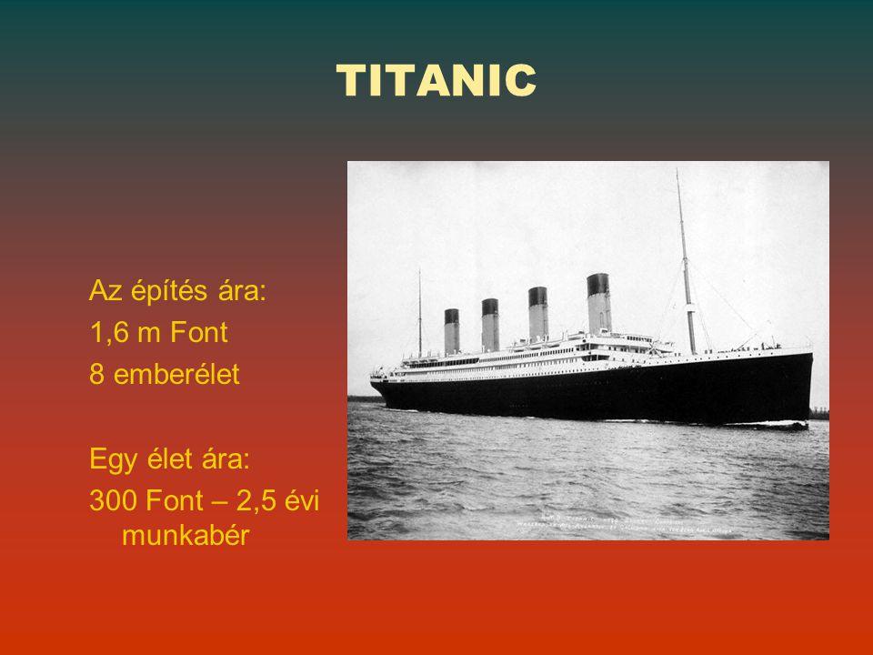 TITANIC Az építés ára: 1,6 m Font 8 emberélet Egy élet ára: 300 Font – 2,5 évi munkabér