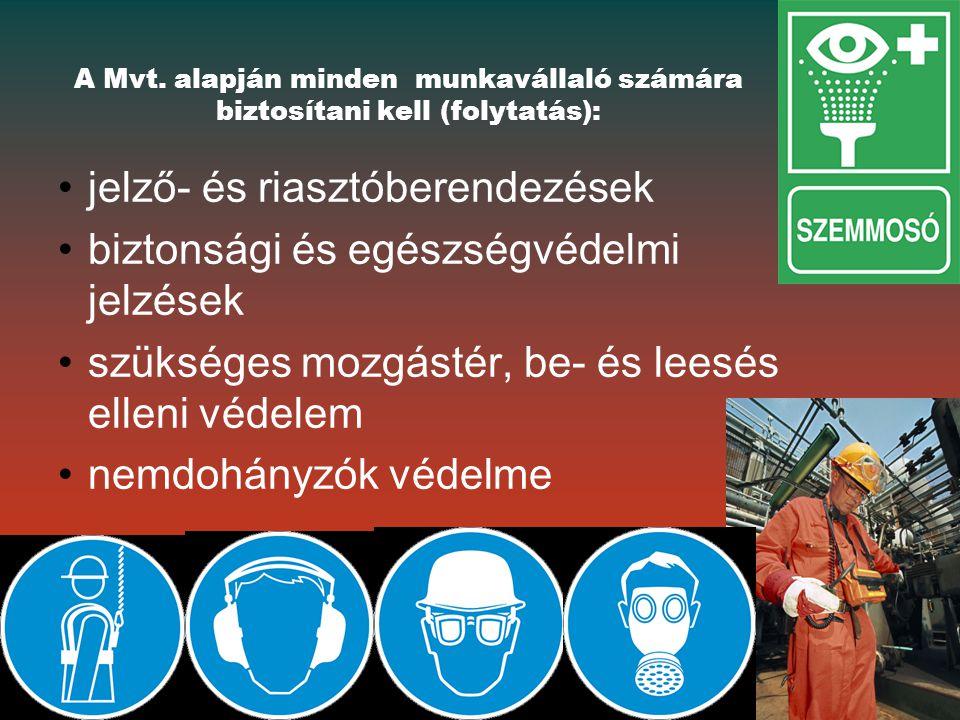 jelző- és riasztóberendezések biztonsági és egészségvédelmi jelzések