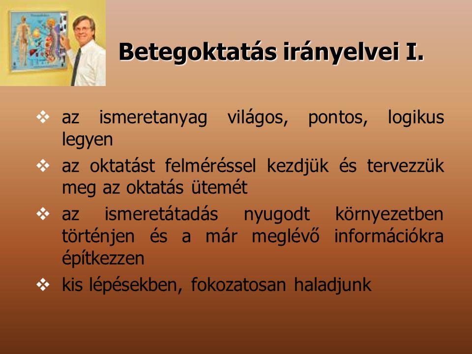 Betegoktatás irányelvei I.