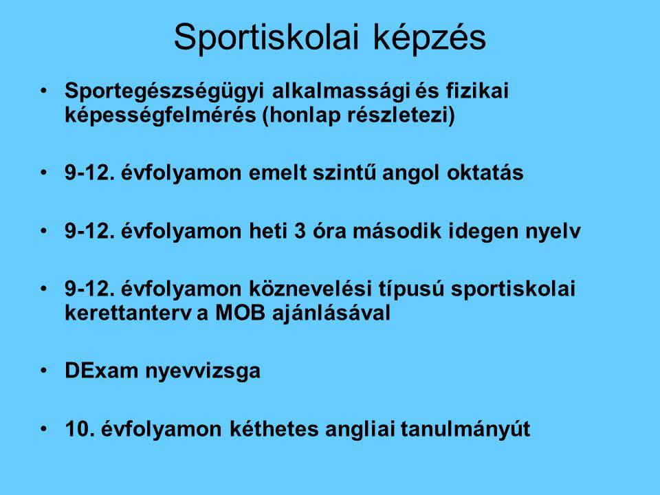 Sportiskolai képzés Sportegészségügyi alkalmassági és fizikai képességfelmérés (honlap részletezi) 9-12. évfolyamon emelt szintű angol oktatás.