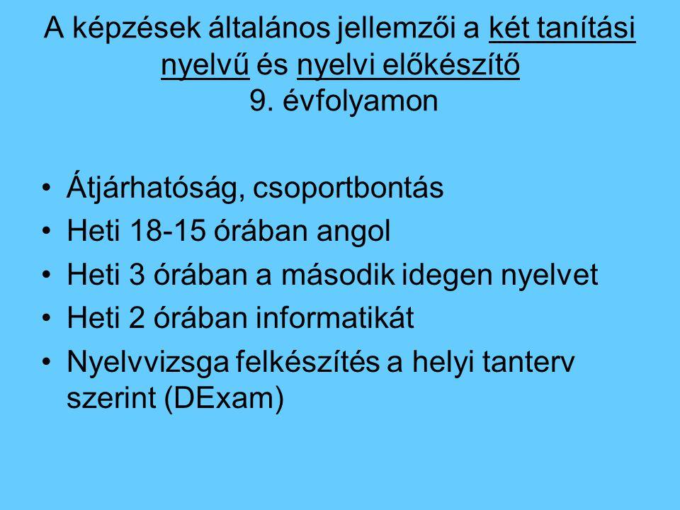 A képzések általános jellemzői a két tanítási nyelvű és nyelvi előkészítő 9. évfolyamon