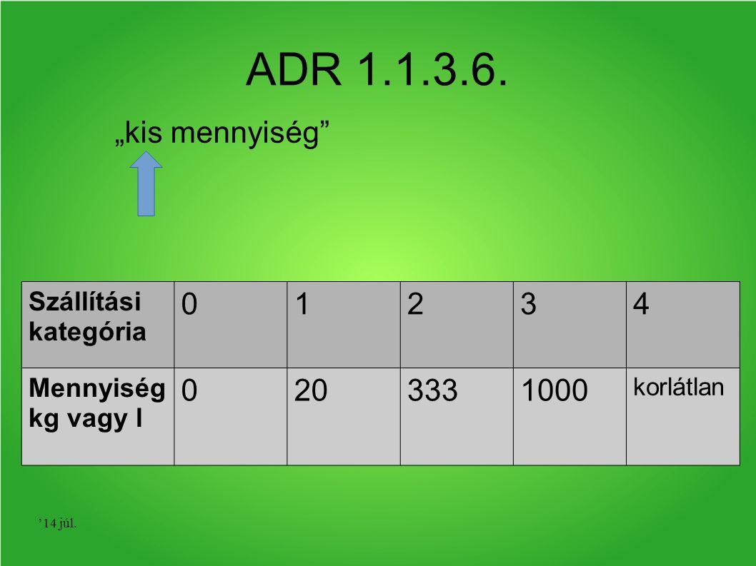 """ADR 1.1.3.6. """"kis mennyiség 1 2 3 4 20 333 1000 Szállítási kategória"""
