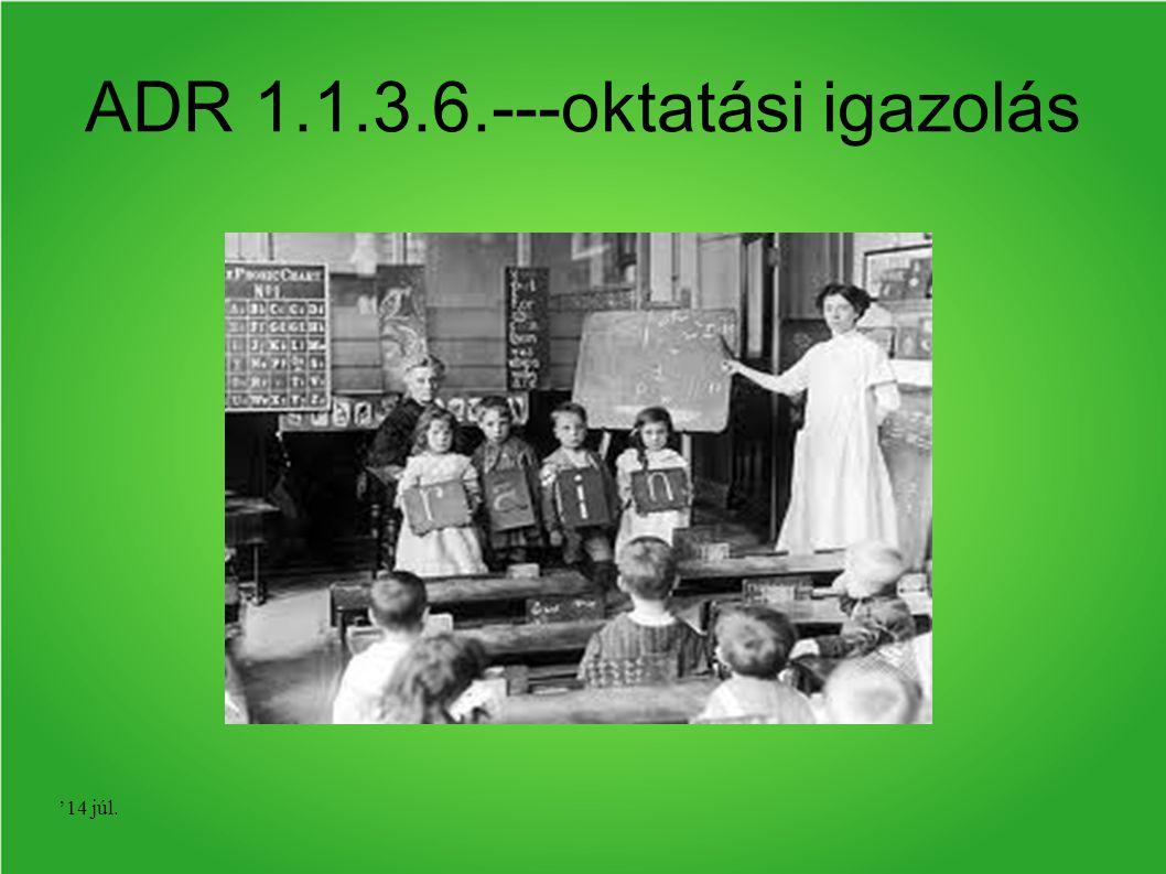 ADR 1.1.3.6.---oktatási igazolás