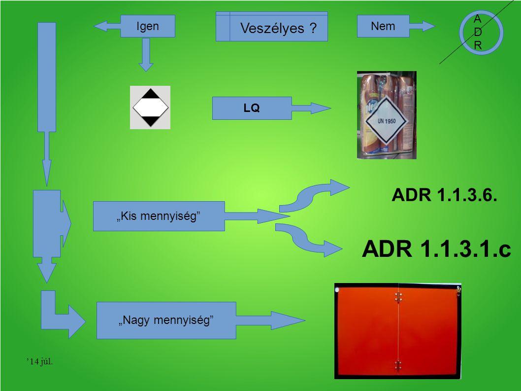 "ADR 1.1.3.1.c ADR 1.1.3.6. Veszélyes ADR Igen Nem LQ ""Kis mennyiség"