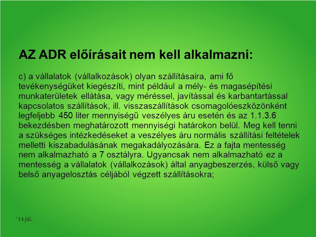 AZ ADR előírásait nem kell alkalmazni: