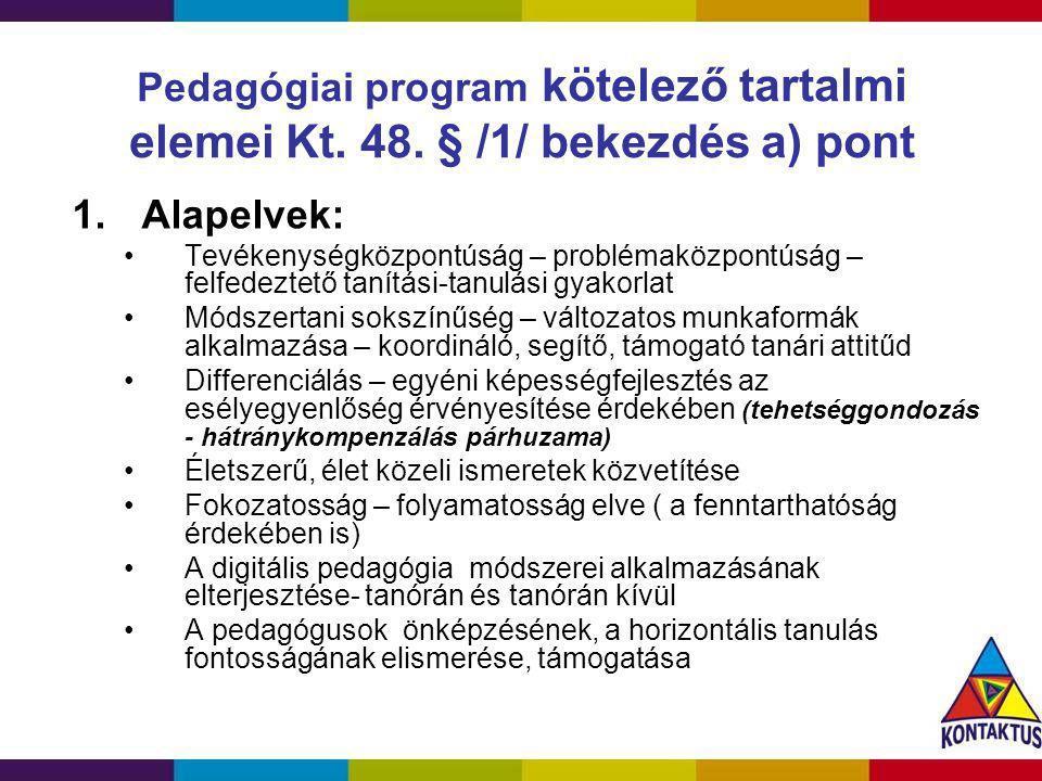 Pedagógiai program kötelező tartalmi elemei Kt. 48