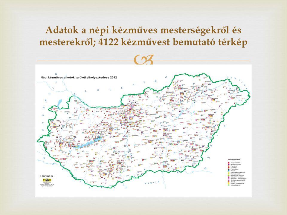Adatok a népi kézműves mesterségekről és mesterekről; 4122 kézművest bemutató térkép