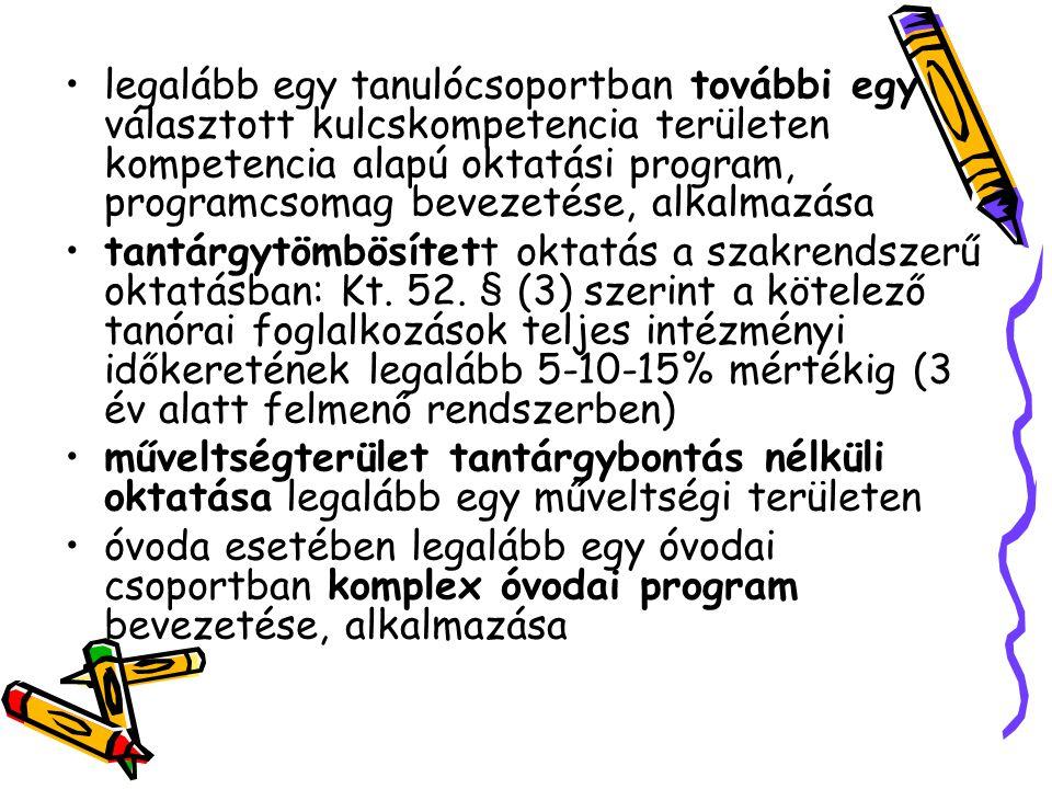 legalább egy tanulócsoportban további egy választott kulcskompetencia területen kompetencia alapú oktatási program, programcsomag bevezetése, alkalmazása