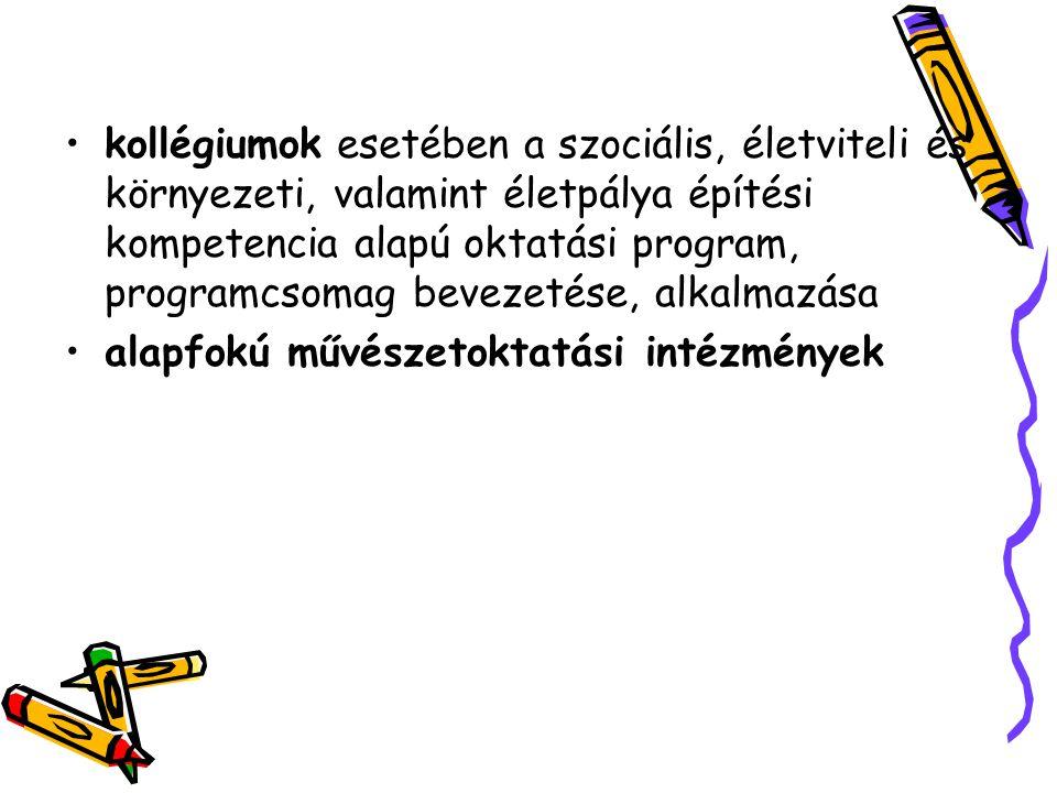 kollégiumok esetében a szociális, életviteli és környezeti, valamint életpálya építési kompetencia alapú oktatási program, programcsomag bevezetése, alkalmazása