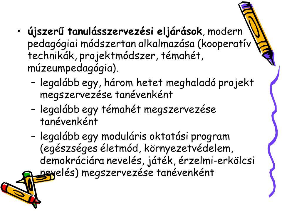újszerű tanulásszervezési eljárások, modern pedagógiai módszertan alkalmazása (kooperatív technikák, projektmódszer, témahét, múzeumpedagógia).