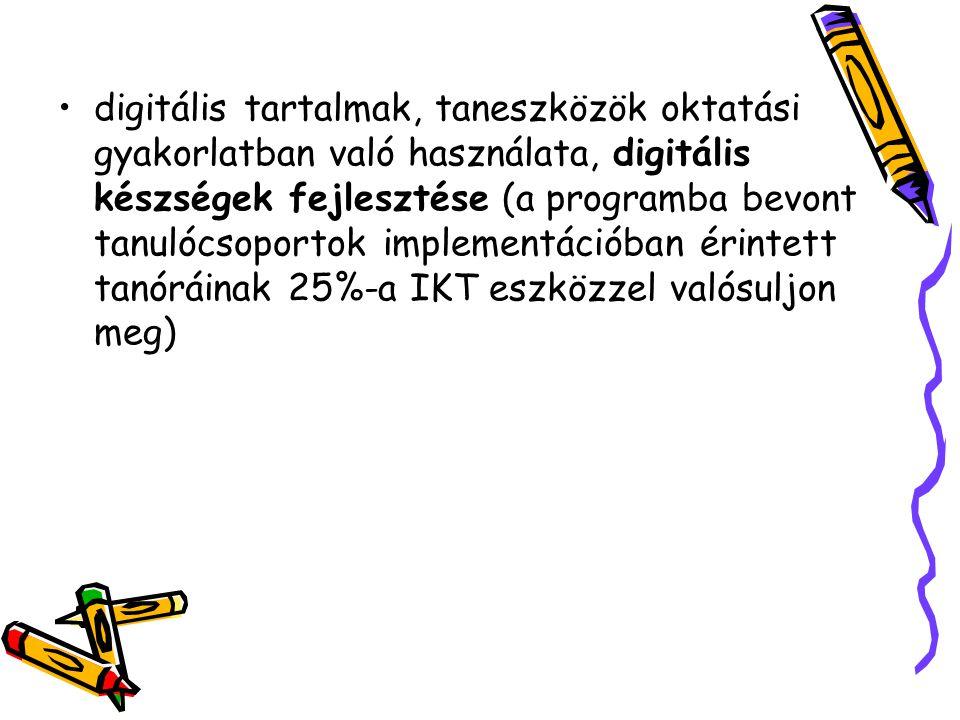 digitális tartalmak, taneszközök oktatási gyakorlatban való használata, digitális készségek fejlesztése (a programba bevont tanulócsoportok implementációban érintett tanóráinak 25%-a IKT eszközzel valósuljon meg)