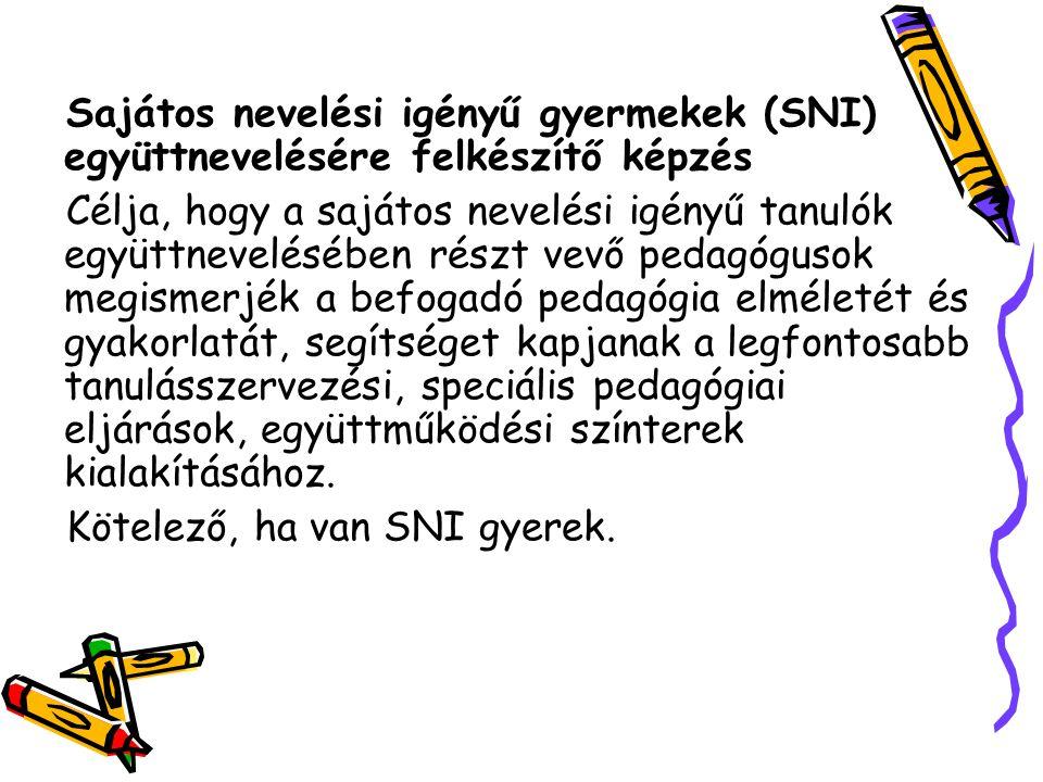 Sajátos nevelési igényű gyermekek (SNI) együttnevelésére felkészítő képzés