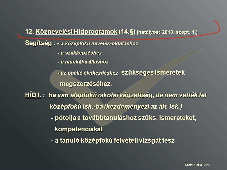 12. Köznevelési Hídprogramok (14.§) (hatályos: 2013. szept. 1.)