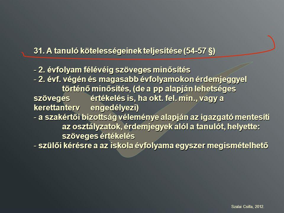 31. A tanuló kötelességeinek teljesítése (54-57 §)