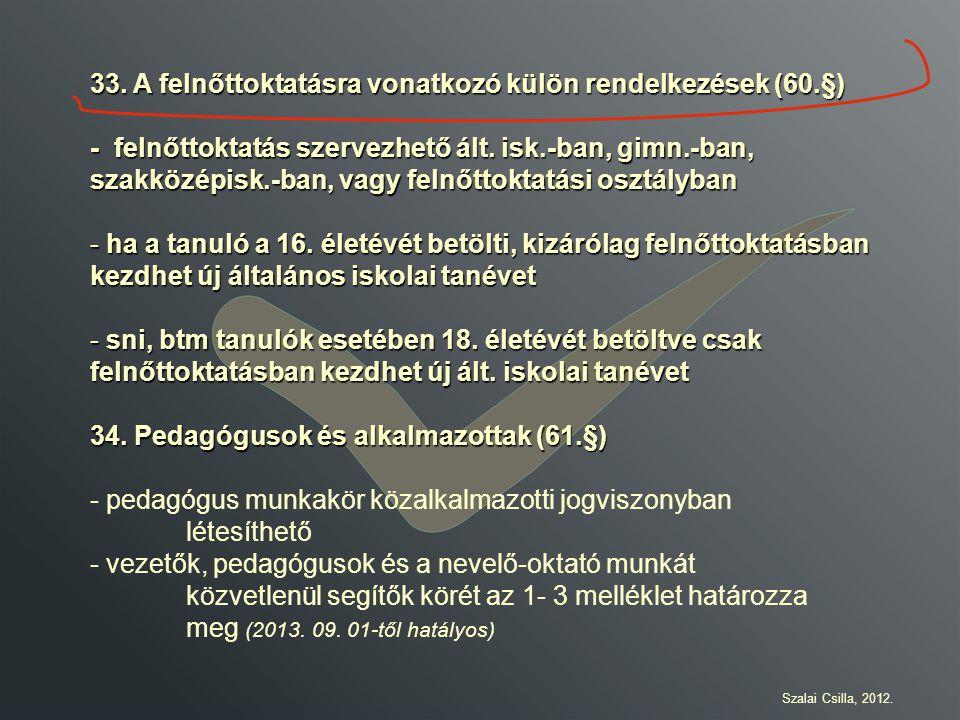 33. A felnőttoktatásra vonatkozó külön rendelkezések (60.§)
