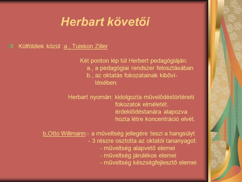 Herbart követői Külföldiek közül :a., Tuiskon Ziller