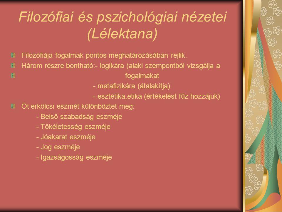 Filozófiai és pszichológiai nézetei (Lélektana)