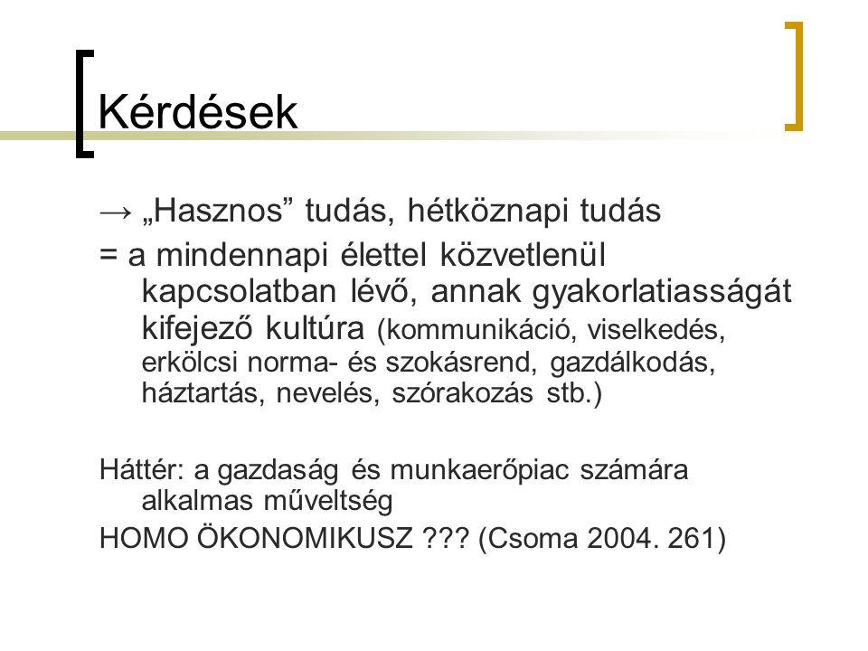 """Kérdések → """"Hasznos tudás, hétköznapi tudás"""