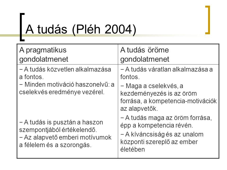 A tudás (Pléh 2004) A pragmatikus gondolatmenet