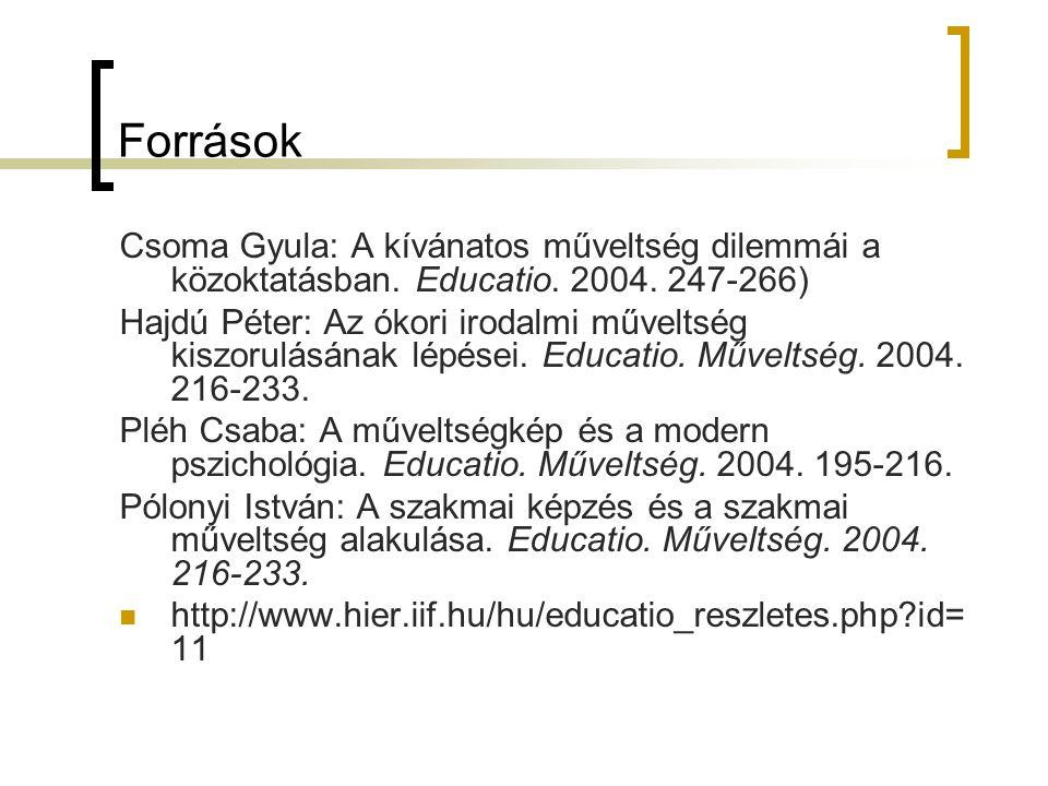 Források Csoma Gyula: A kívánatos műveltség dilemmái a közoktatásban. Educatio. 2004. 247-266)