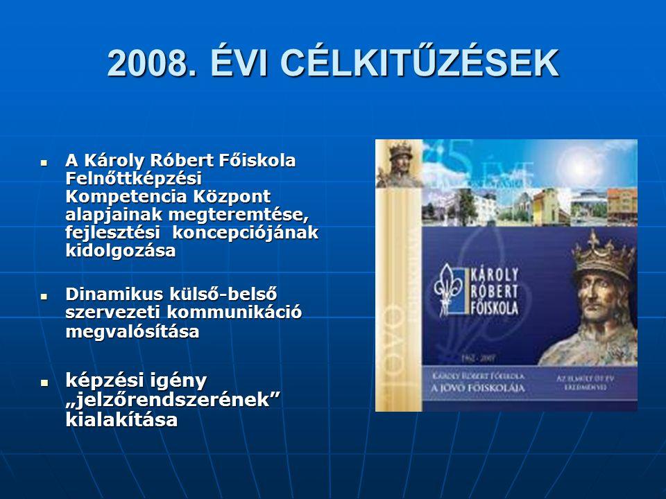 """2008. ÉVI CÉLKITŰZÉSEK képzési igény """"jelzőrendszerének kialakítása"""