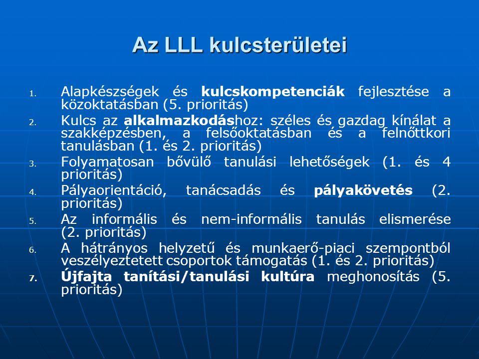 Az LLL kulcsterületei Alapkészségek és kulcskompetenciák fejlesztése a közoktatásban (5. prioritás)