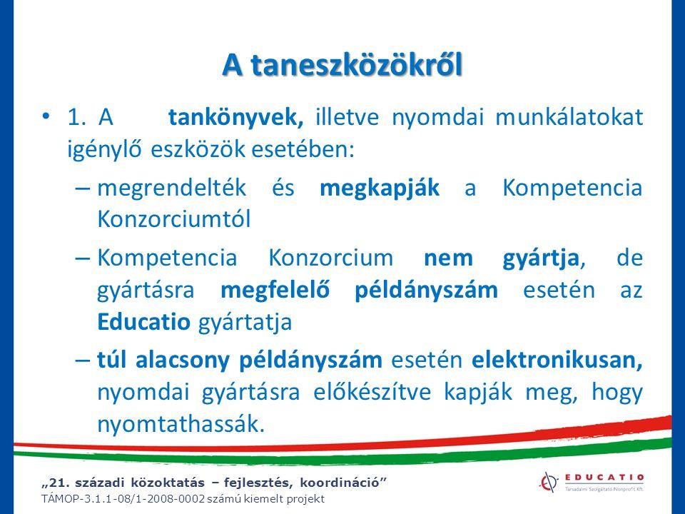 A taneszközökről 1. A tankönyvek, illetve nyomdai munkálatokat igénylő eszközök esetében: megrendelték és megkapják a Kompetencia Konzorciumtól.