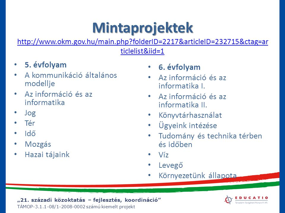 Mintaprojektek http://www. okm. gov. hu/main. php