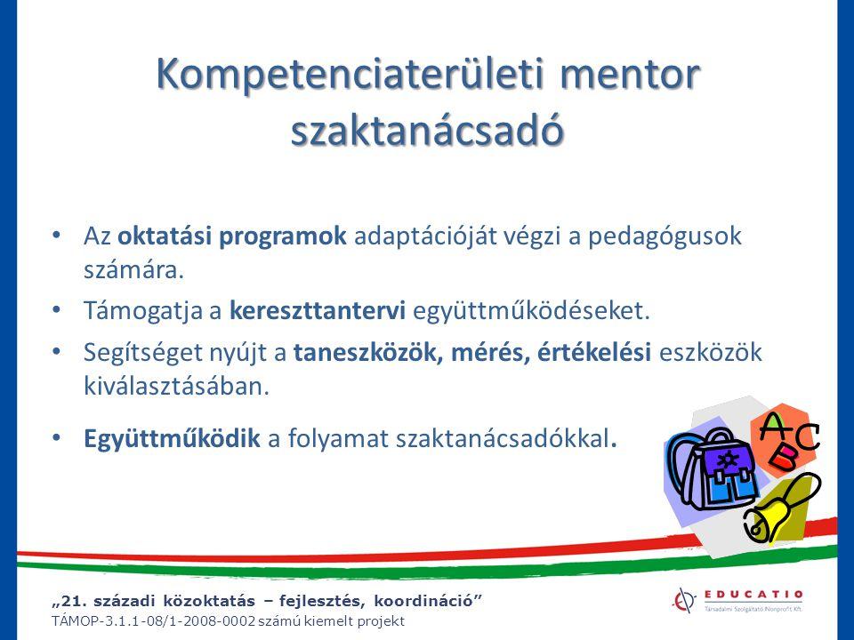 Kompetenciaterületi mentor szaktanácsadó