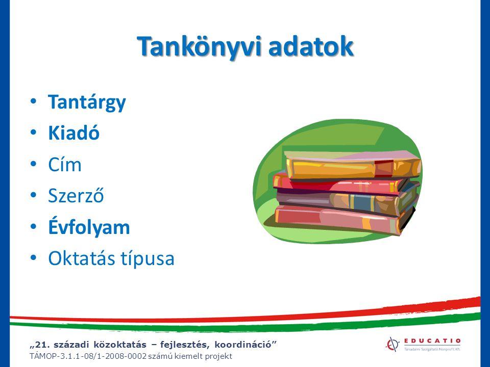 Tankönyvi adatok Tantárgy Kiadó Cím Szerző Évfolyam Oktatás típusa
