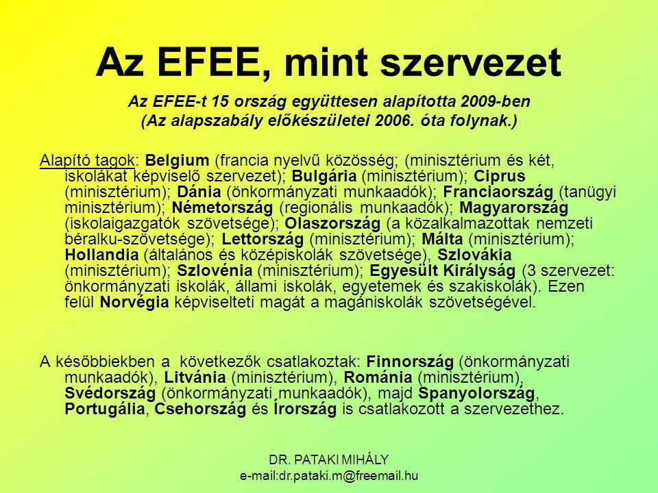 Az EFEE, mint szervezet Az EFEE-t 15 ország együttesen alapította 2009-ben. (Az alapszabály előkészületei 2006. óta folynak.)