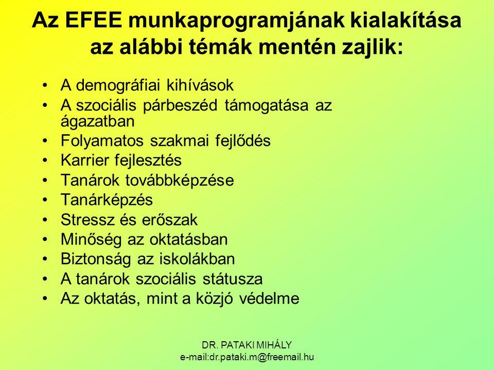 Az EFEE munkaprogramjának kialakítása az alábbi témák mentén zajlik: