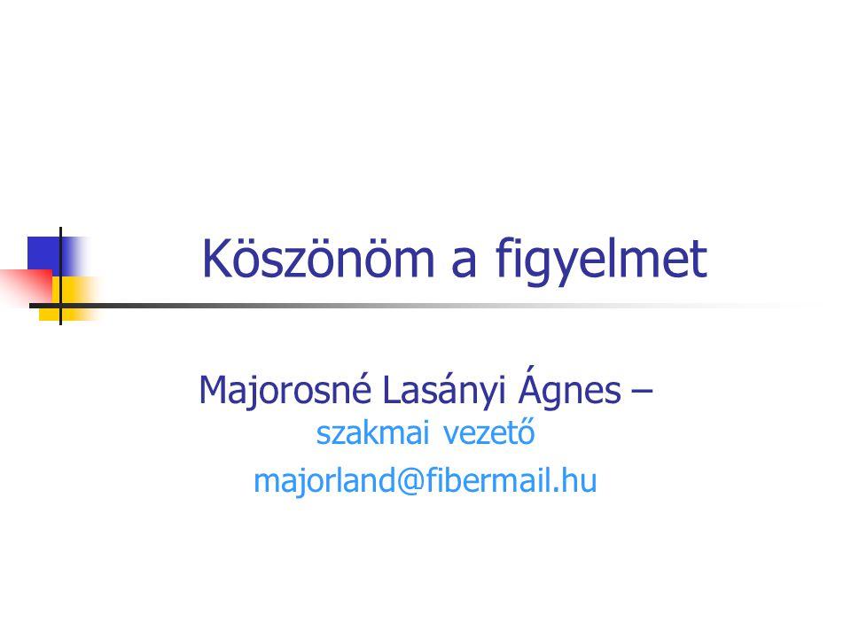 Majorosné Lasányi Ágnes – szakmai vezető majorland@fibermail.hu