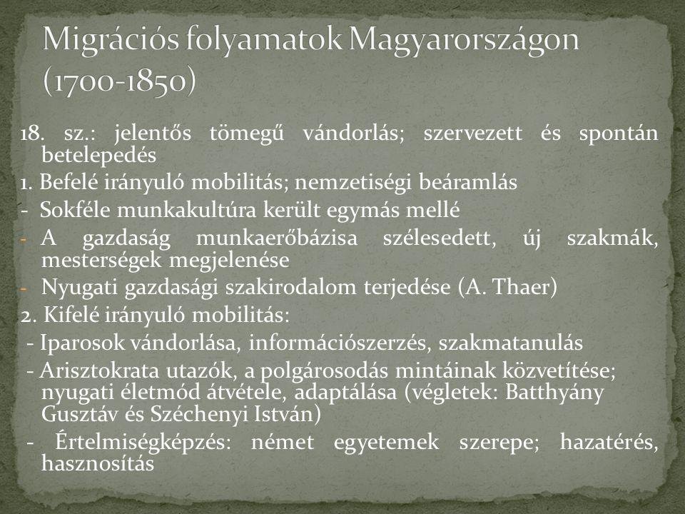 Migrációs folyamatok Magyarországon (1700-1850)