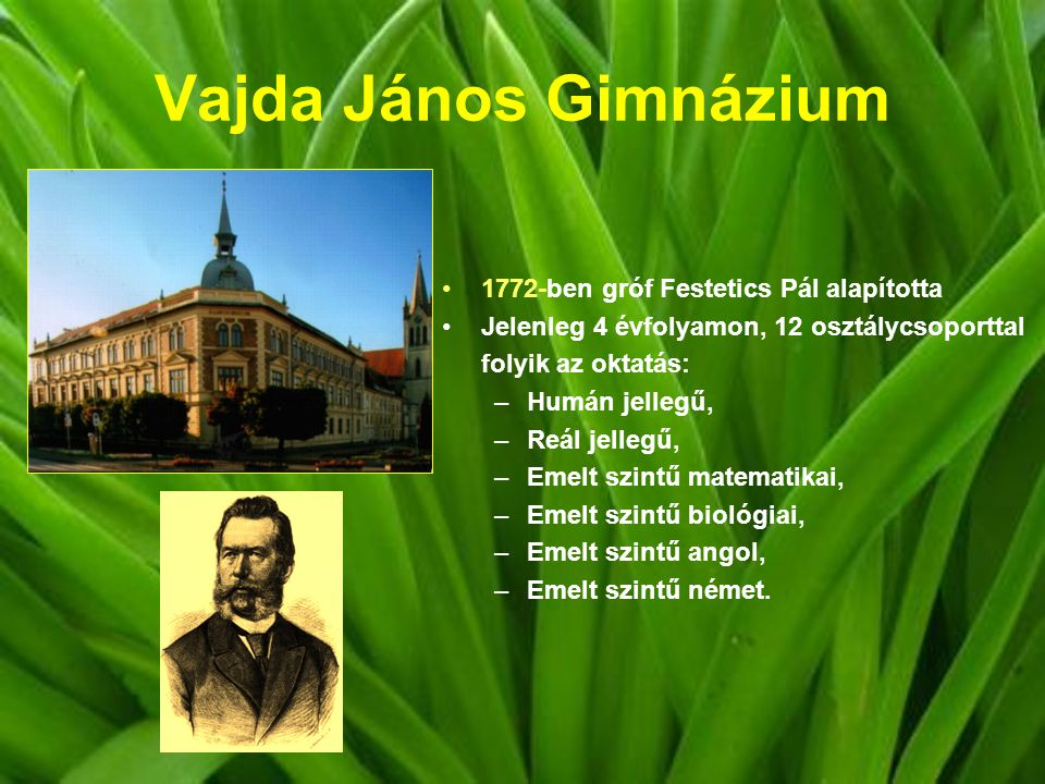 Vajda János Gimnázium 1772-ben gróf Festetics Pál alapította