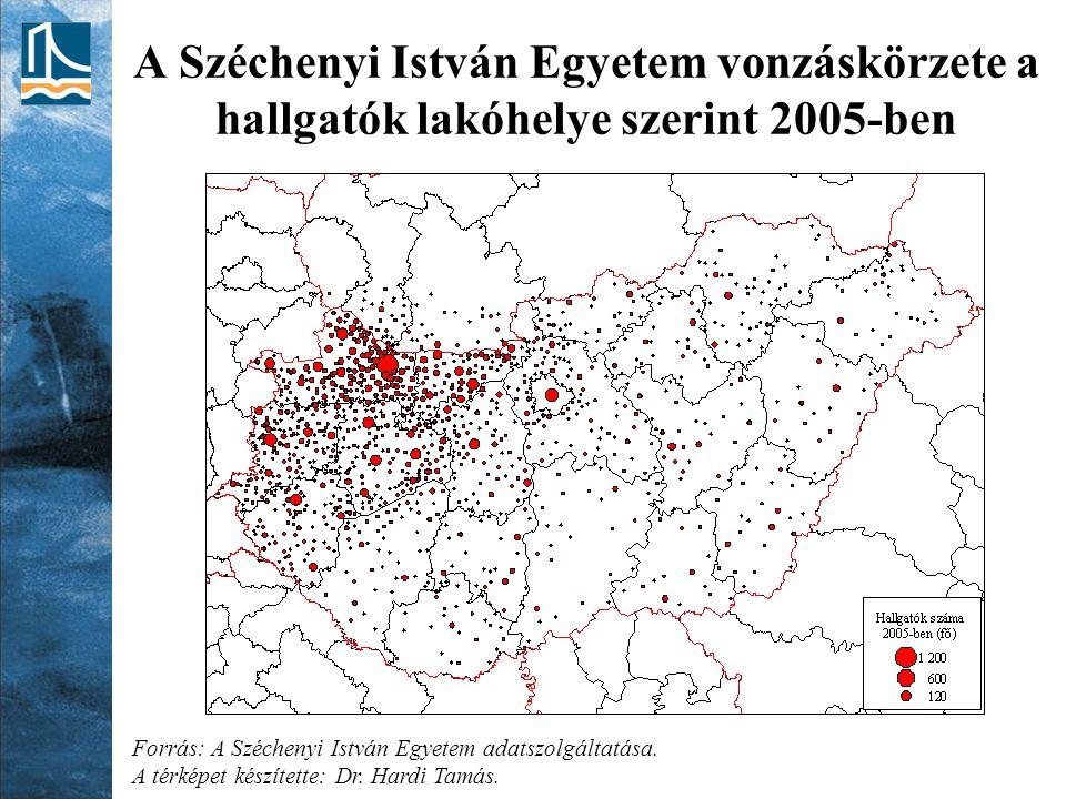 A Széchenyi István Egyetem vonzáskörzete a hallgatók lakóhelye szerint 2005-ben