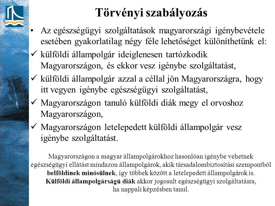 Törvényi szabályozás Az egészségügyi szolgáltatások magyarországi igénybevétele esetében gyakorlatilag négy féle lehetőséget különíthetünk el: