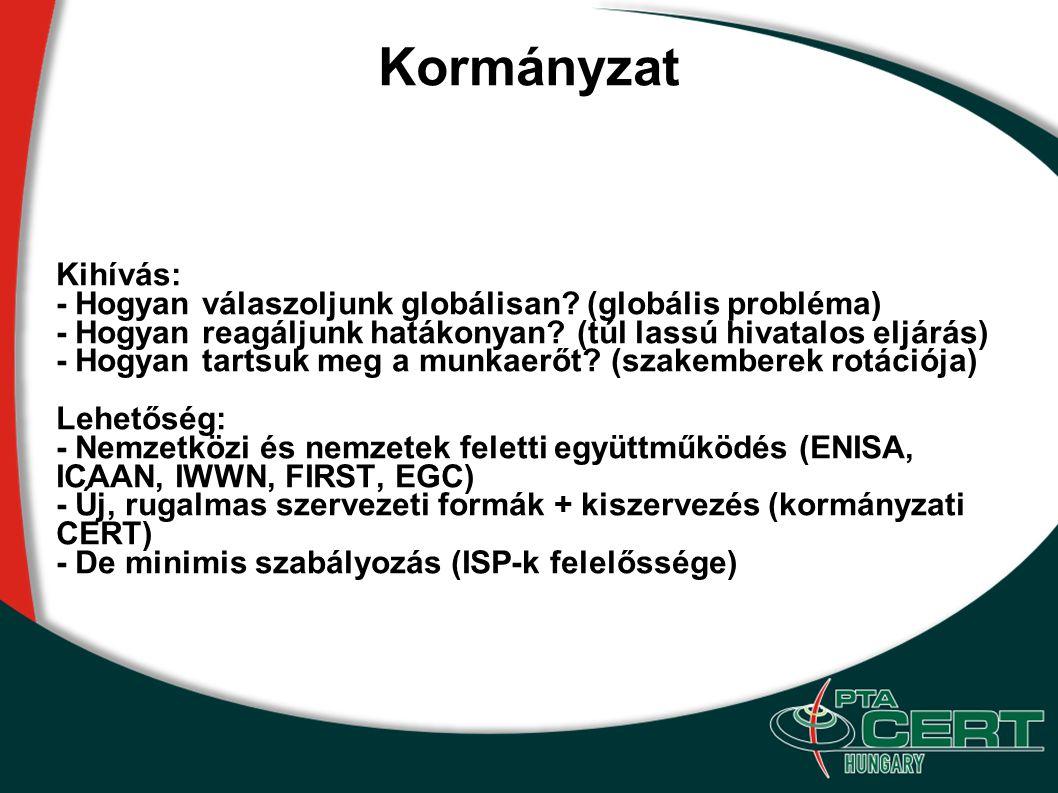 Kormányzat Kihívás: - Hogyan válaszoljunk globálisan (globális probléma) - Hogyan reagáljunk hatákonyan (túl lassú hivatalos eljárás)
