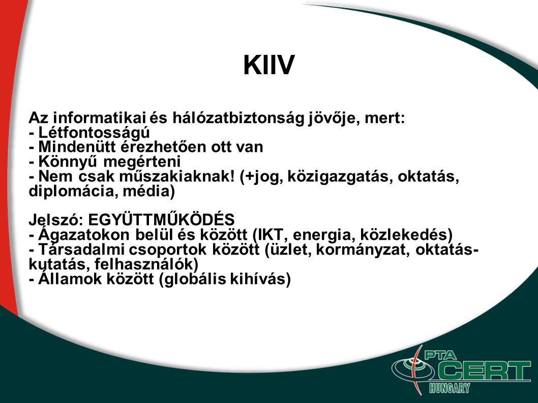 KIIV Az informatikai és hálózatbiztonság jövője, mert: - Létfontosságú
