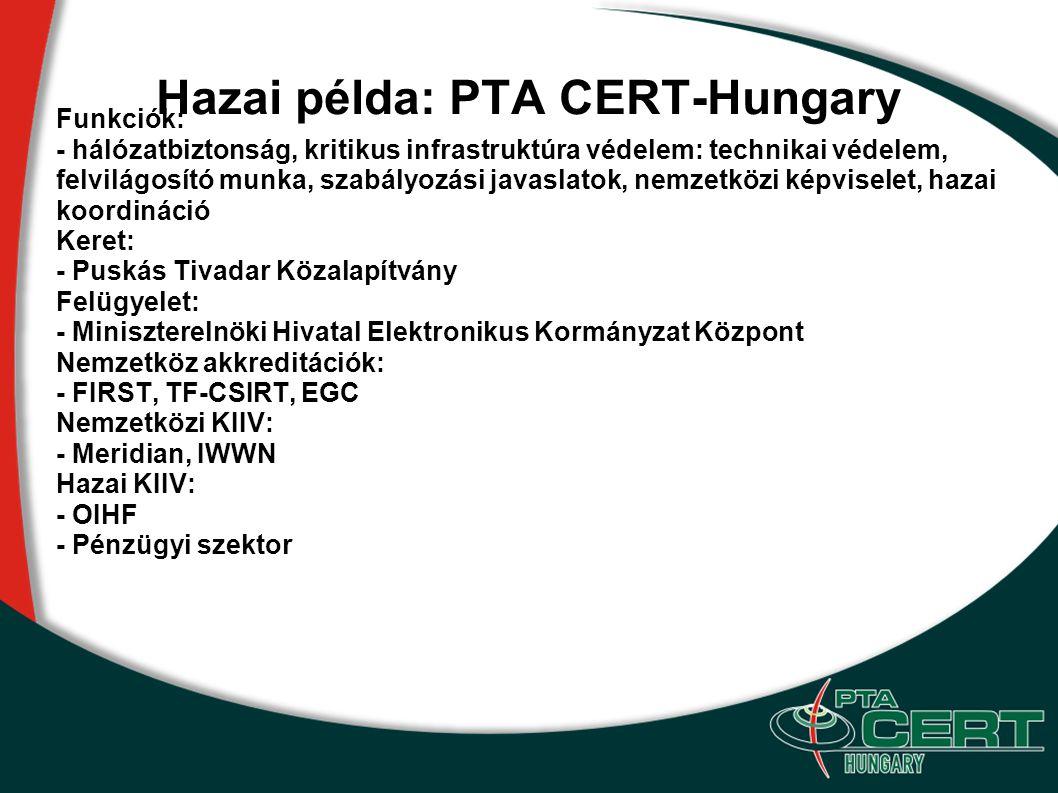 Hazai példa: PTA CERT-Hungary