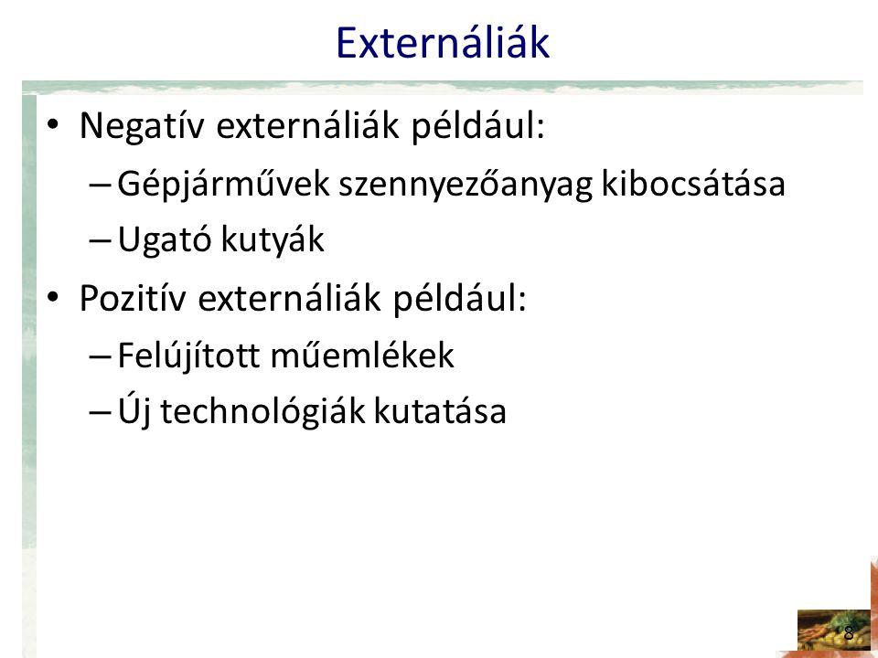 Externáliák Negatív externáliák például: Pozitív externáliák például: