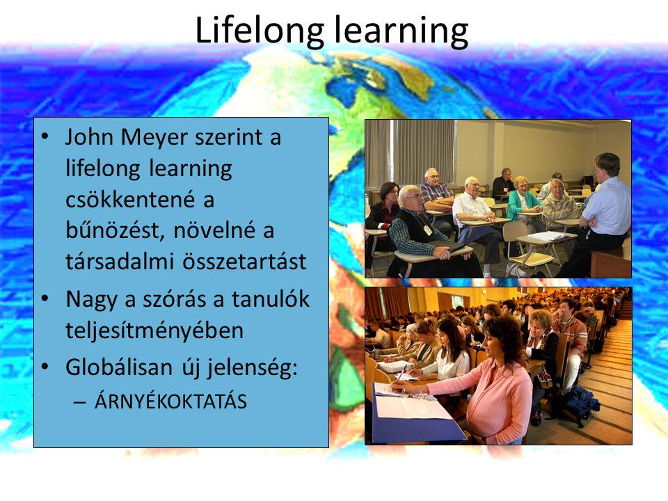 Lifelong learning John Meyer szerint a lifelong learning csökkentené a bűnözést, növelné a társadalmi összetartást.