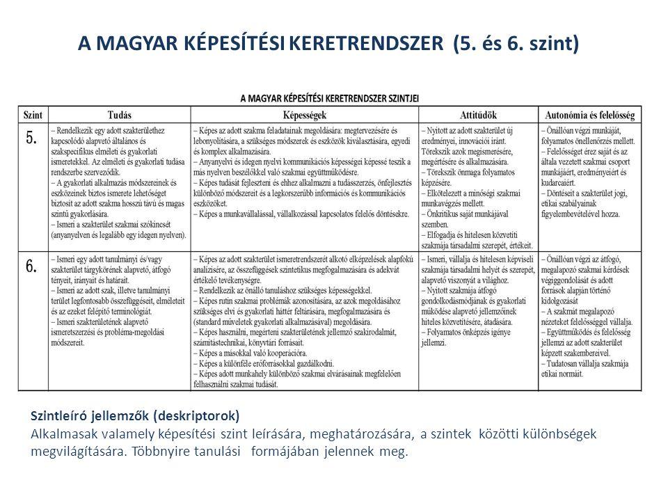 A MAGYAR KÉPESÍTÉSI KERETRENDSZER (5. és 6. szint)