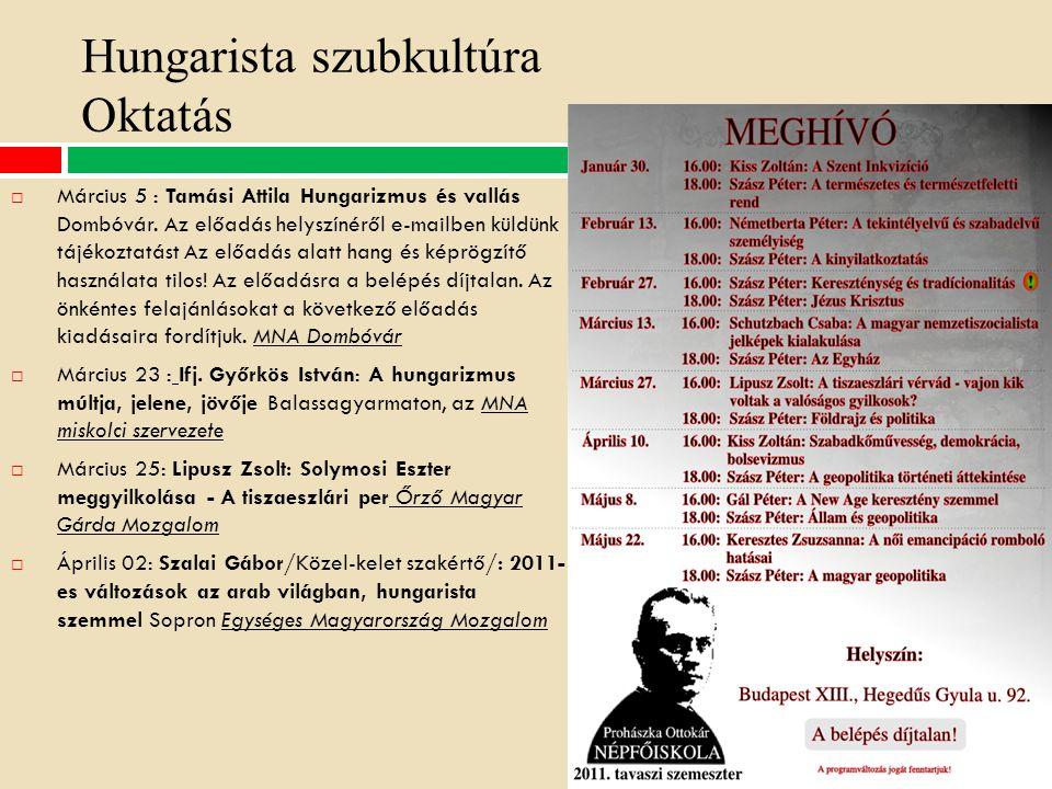 Hungarista szubkultúra Oktatás