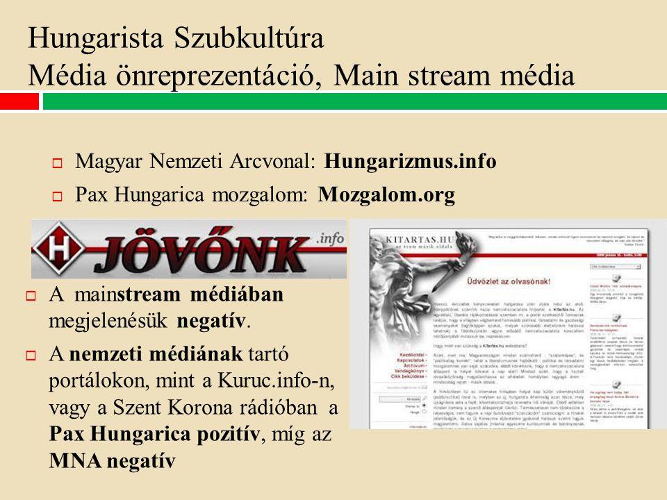 Hungarista Szubkultúra Média önreprezentáció, Main stream média