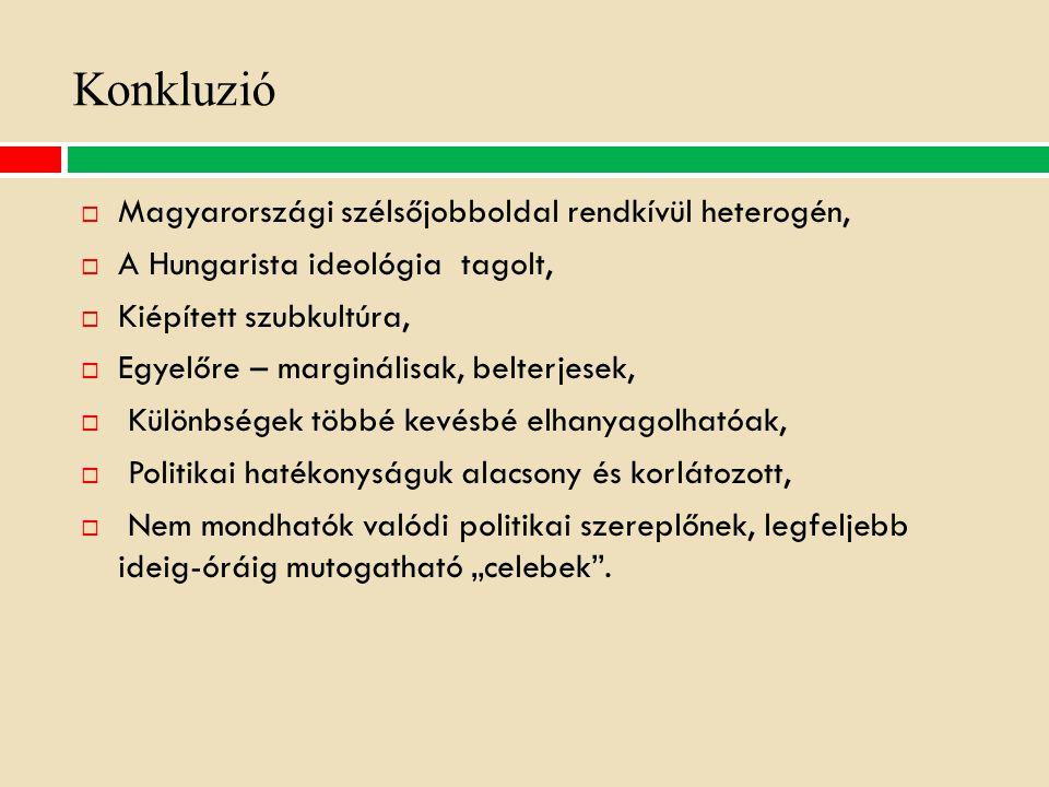 Konkluzió Magyarországi szélsőjobboldal rendkívül heterogén,
