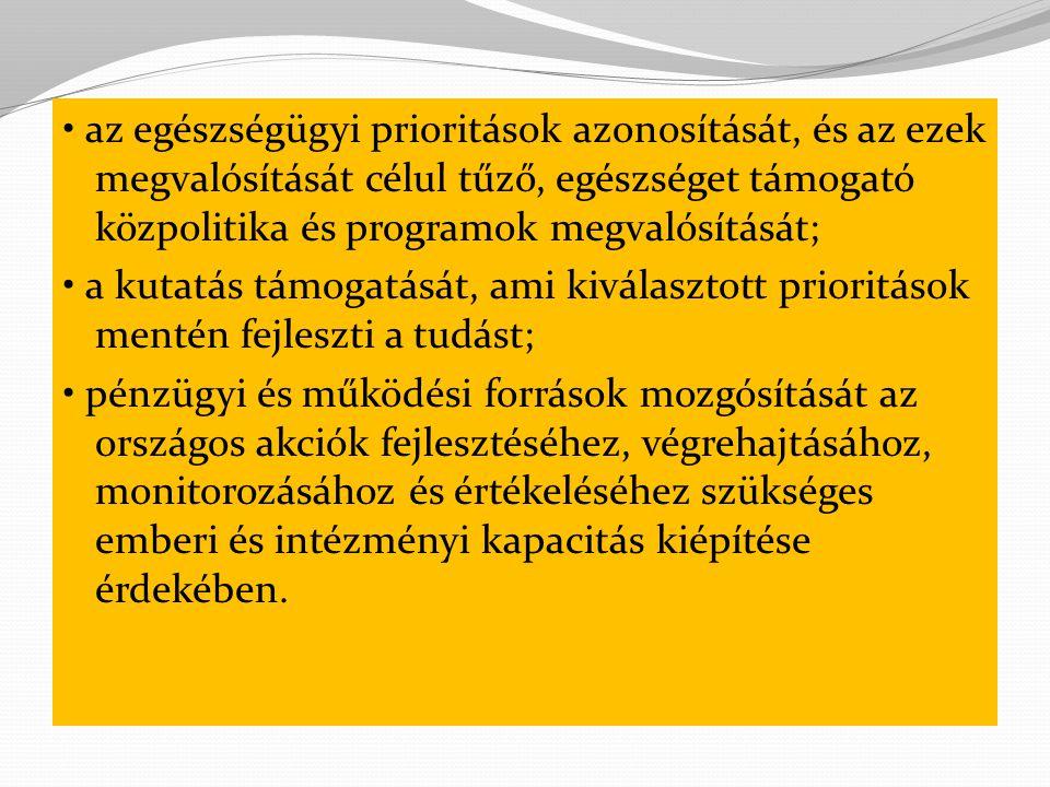 • az egészségügyi prioritások azonosítását, és az ezek megvalósítását célul tűző, egészséget támogató közpolitika és programok megvalósítását;