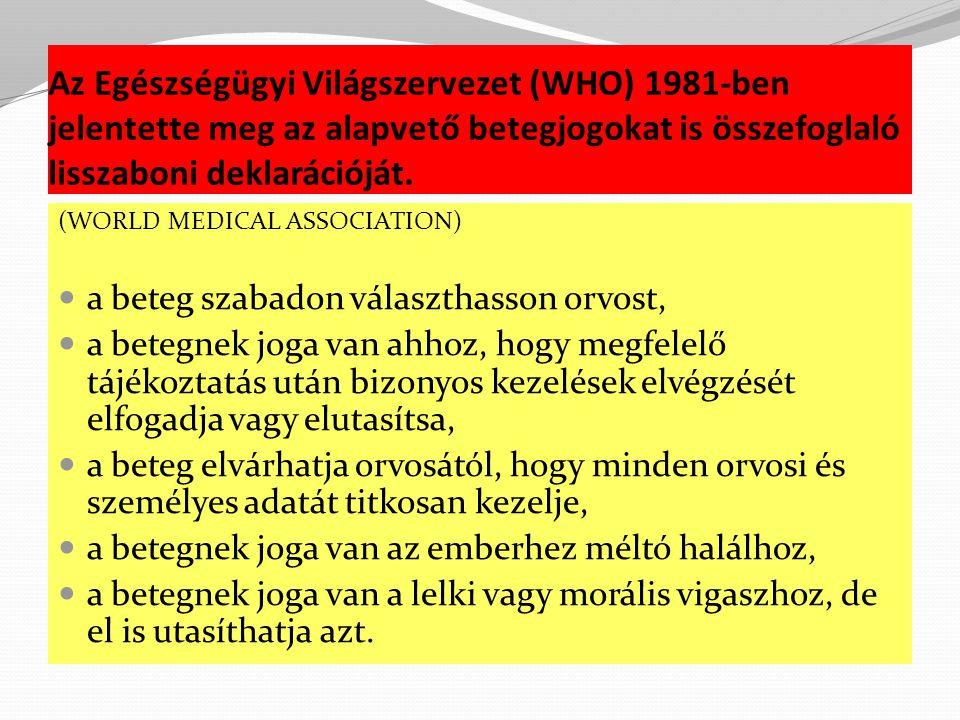 Az Egészségügyi Világszervezet (WHO) 1981-ben jelentette meg az alapvető betegjogokat is összefoglaló lisszaboni deklarációját.