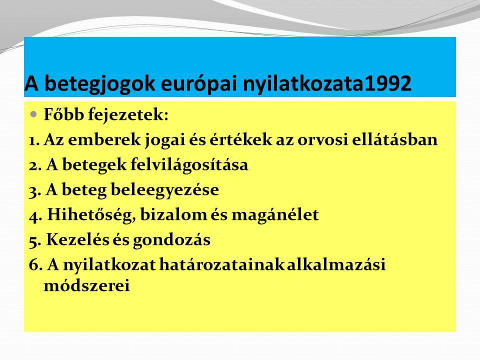 A betegjogok európai nyilatkozata1992